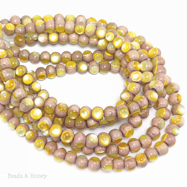 Rosewood Bead with Gold Mother of Pearl Inlay Round 6mm (8-Inch Strand)