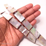 White Mother of Pearl Rectangle Bead with Resin Accent 28x14x3.5mm (6pcs)