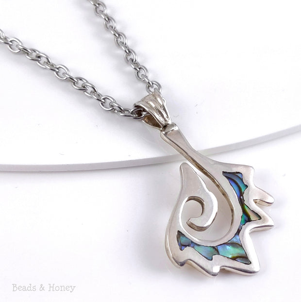 Handmade Sterling Silver Pendant Freeform Hook with Abalone Shell - One of a Kind - 40x25mm (1pc)