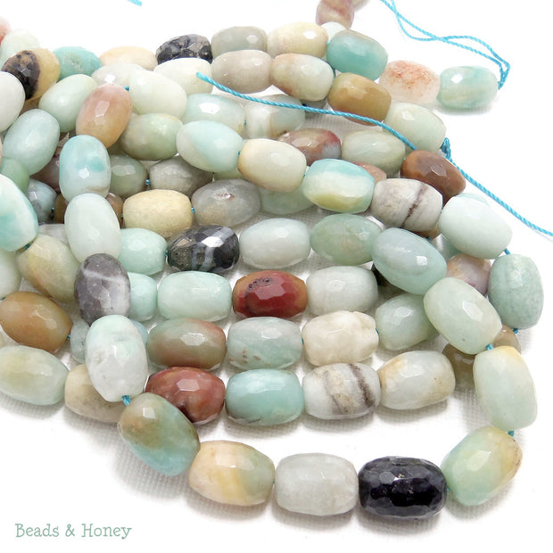 Black Gold Amazonite Barrel Faceted 14x10mm (15.5-Inch Strand)