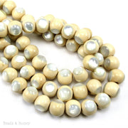 Whitewood Bead Natural with White Mother of Pearl  Inlay Round 10mm (8-Inch Strand)