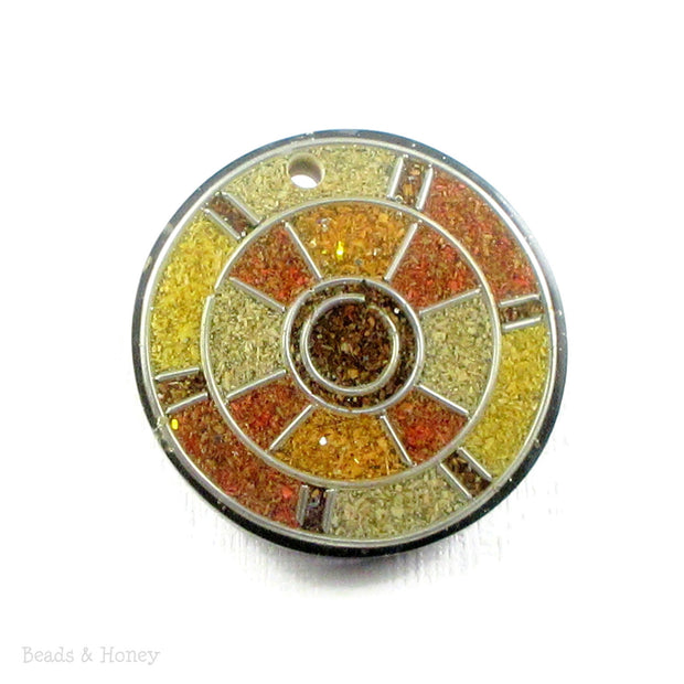 Vintage Recycled Sawdust Pendant Brown/Yellow Art Deco Dartboard Design 30mm (1pc)