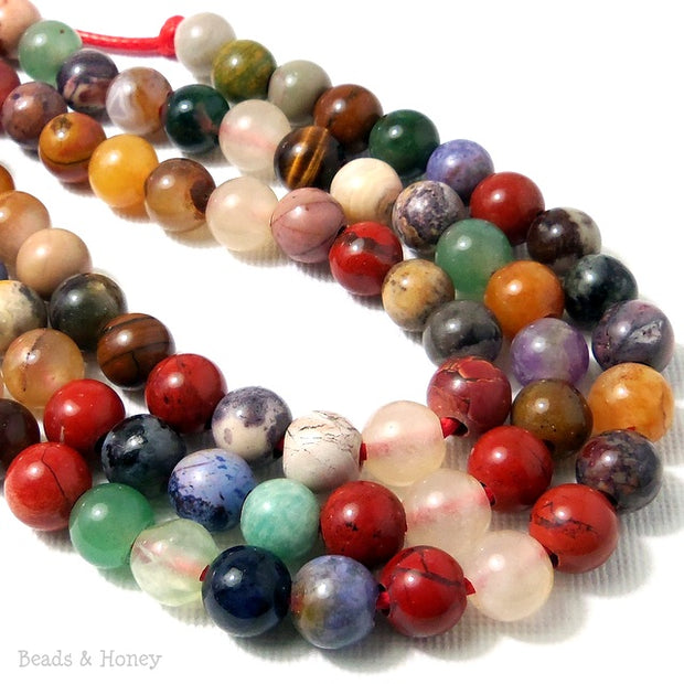 Dakota Stones Mixed Gemstones Large Hole Bead Round 8mm (8-Inch Strand)