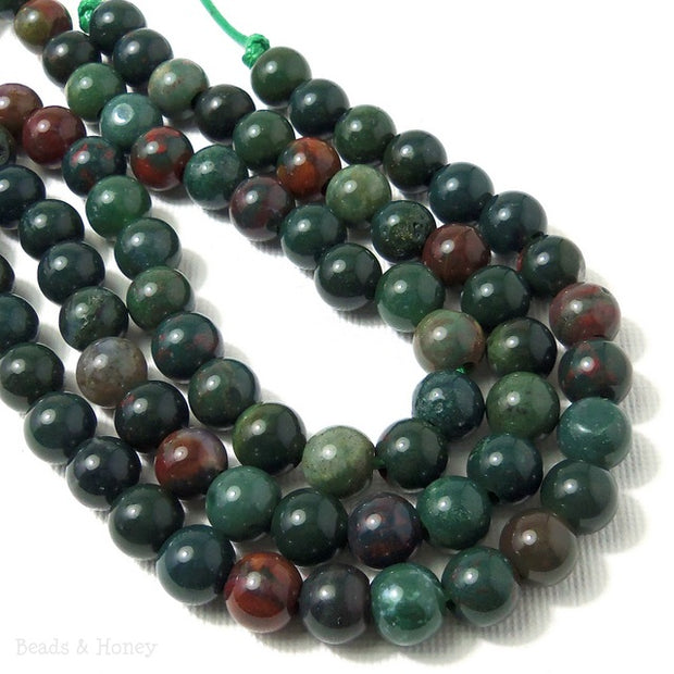 Dakota Stones Bloodstone Large Hole Bead Round 8mm (8-Inch Strand)