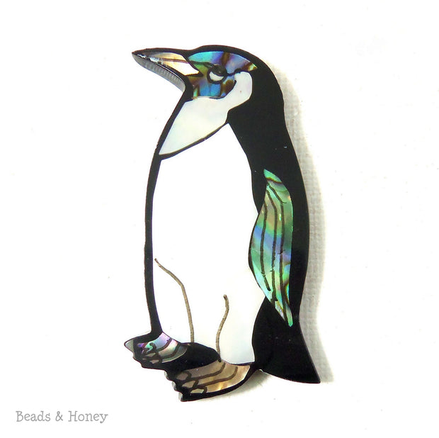 Mosaic Shell Inlaid Resin Cabochon Penguin 45x22mm (1pc)