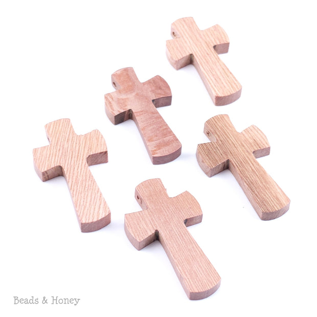 Rosewood Cross Pendant Curved Edge Large 38x22x5mm (3pc or 5pc)