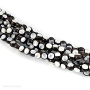 Ebony Wood Bead Inlaid with White Mother of Pearl Round 6mm (8-Inch Strand)