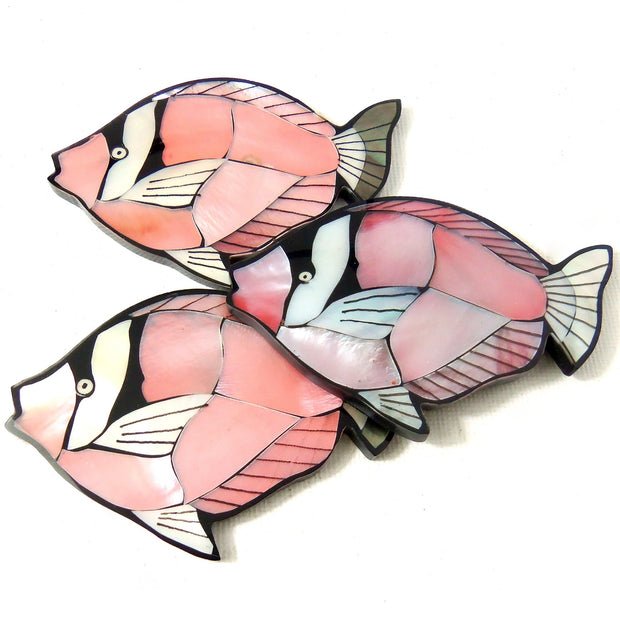 Mosaic Shell Inlaid Resin Flat Back Cabochon Pink Angelfish 65x45mm (1pc)