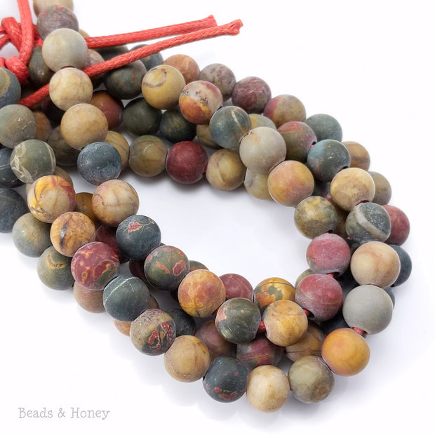 Dakota Stones Matte Red Creek Jasper Large Hole Bead Round 8mm (8-Inch Strand)