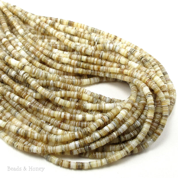 Kabibe Shell Beads Brown/Gray/White Heishi 4-5mm (16-Inch or 24-Inch Strand)