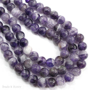 Dakota Stones Dog Teeth Amethyst Large Hole Bead Round 8mm (8 Inch Strand)