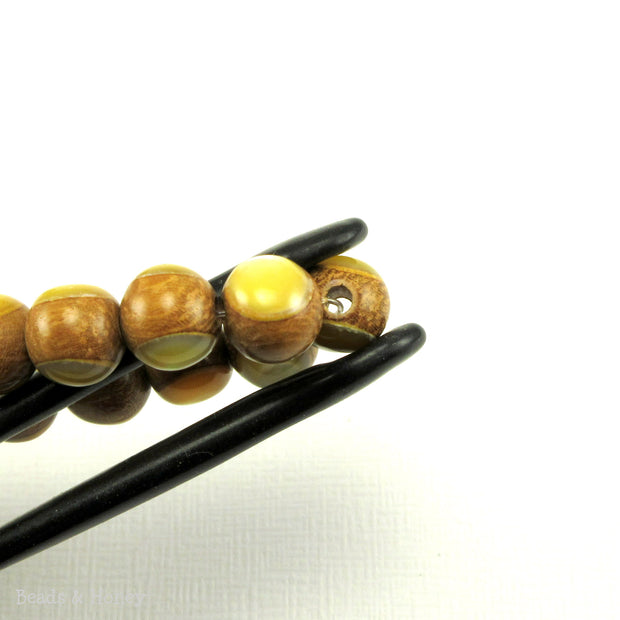Nangka Wood Bead with Gold Mother of Pearl Round Inlay 8mm (8-Inch Strand)