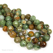 African Green Opal Bead Round Faceted 12mm (15.5 Inch Strand)