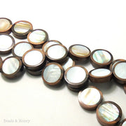 Tiger Ebony Wood Bead with Makabibi Shell Inlay Coin Flat 22mm (10pcs)