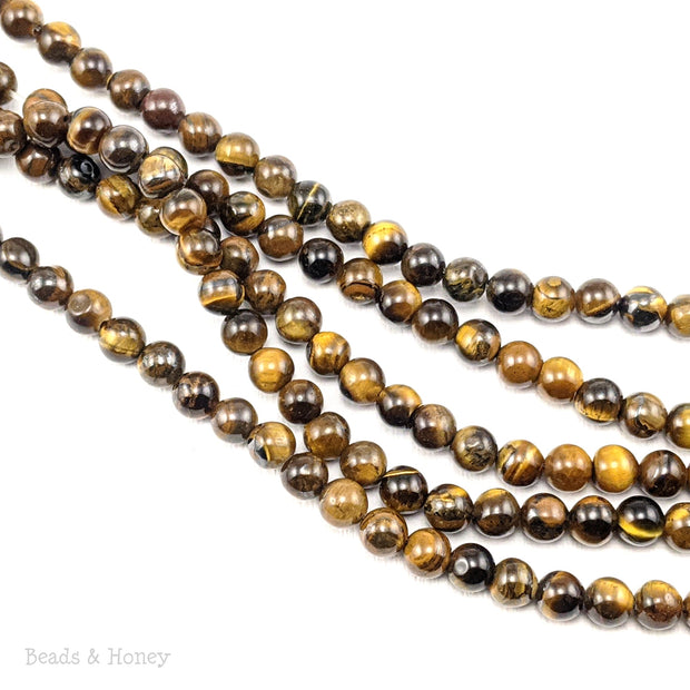 Tiger Eye Bead Golden Brown Dark Round 6mm (15-Inch Strand)