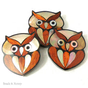 Mosaic Gold Mother of Pearl and Bayong Wood Inlaid Resin Cabochon Owl 30x30mm (1pc)