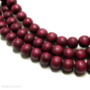 Dyed Wood Bead Magenta Rose Round 8mm (16-Inch Strand)