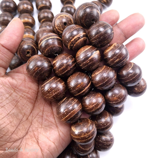 Coconut Shell Bead Dark Brown Round 20mm (10pcs)