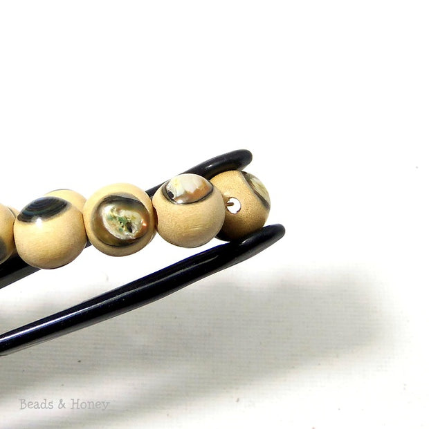 Whitewood with Abalone Shell Inlay Round 10mm (8 Inch Strand)