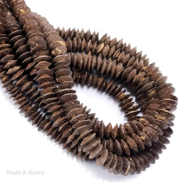 Coconut Shell Bead Dark Brown Saucer 10mm x 4mm (15-15.5-Inch Strand)