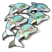 Mosaic Shell Inlaid Resin Cabochon Blue Dolphin 55x30mm (1pc)