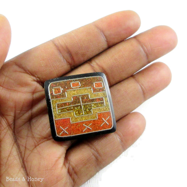 Vintage Recycled Sawdust Cabochon Square Orange/Yellow/Brown Bowtie Art Deco Design 28-30mm (1pc)