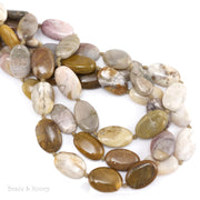 African Petrified Wood Bead Oval Puff 14x10mm - 16x12mm (16.5-Inch Strand, Knotted)