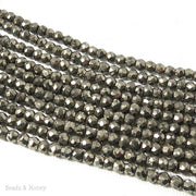 Pyrite Bead Rondelle Faceted 3mm - 4mm (13 Inch Strand)