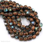 Palmwood Bead with Abalone Shell Inlay Round 8mm (8-Inch Strand)