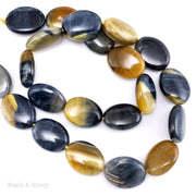 Golden Blue Tiger Eye Bead Oval Puffed 16x12mm (15.5-Inch Strand)
