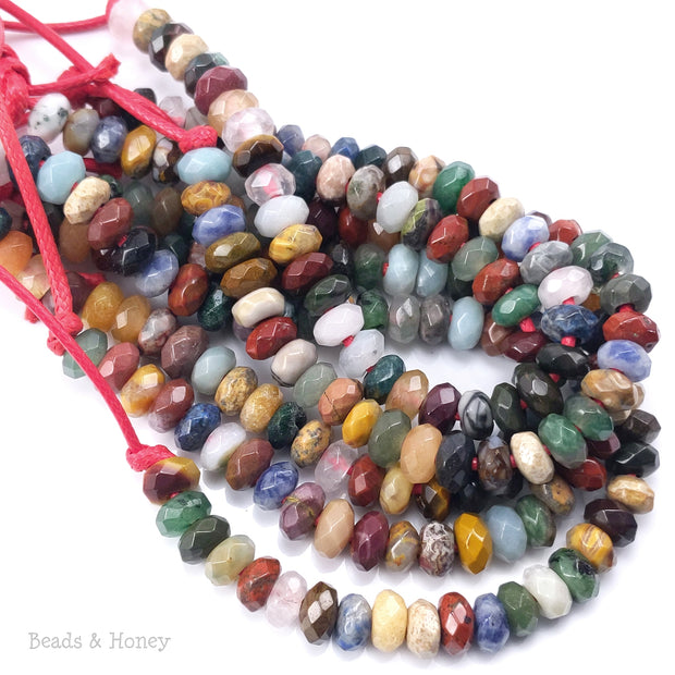 Dakota Stones Mixed Gemstone Large Hole Bead Rondelle Faceted 8mm (7.5-8-Inch Strand)