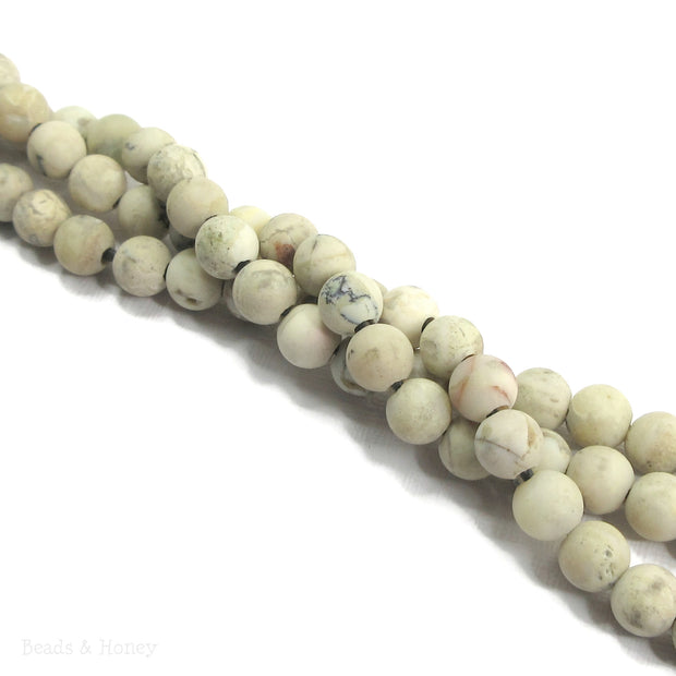 Dakota Stones Matte White African Opal Large Hole Bead Round 8mm (8-Inch Strand)