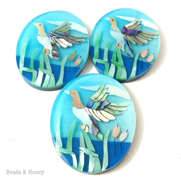 Mosaic Shell Inlaid Resin Cabochon Oval Flying Bird/Duck Design 53x42mm