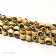 Whitewood Beads with Abalone Shell Inlay Round 7mm - 8mm (8-Inch Strand)
