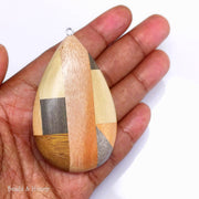 Mosaic Mixed Wood Teardrop Pendant with Stainless Steel Bail 68x40x9mm (1pc)