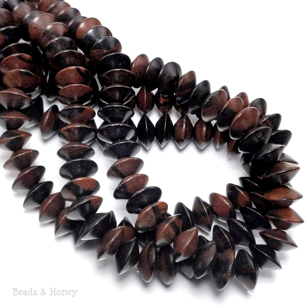 Ebony Wood Bead Saucer 7x14mm (8-Inch Strand)