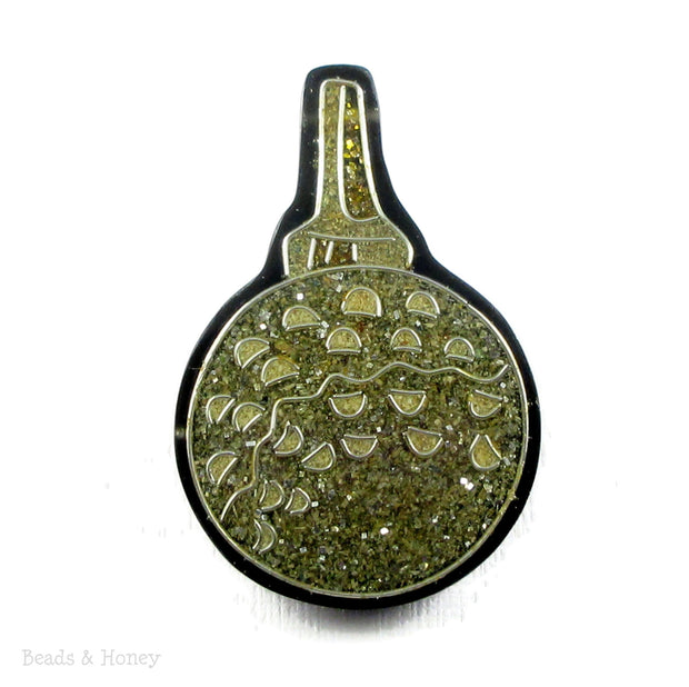 Vintage Recycled Sawdust Pendant Gold/Olive Green Abstract Key Design 50x32mm (1pc)