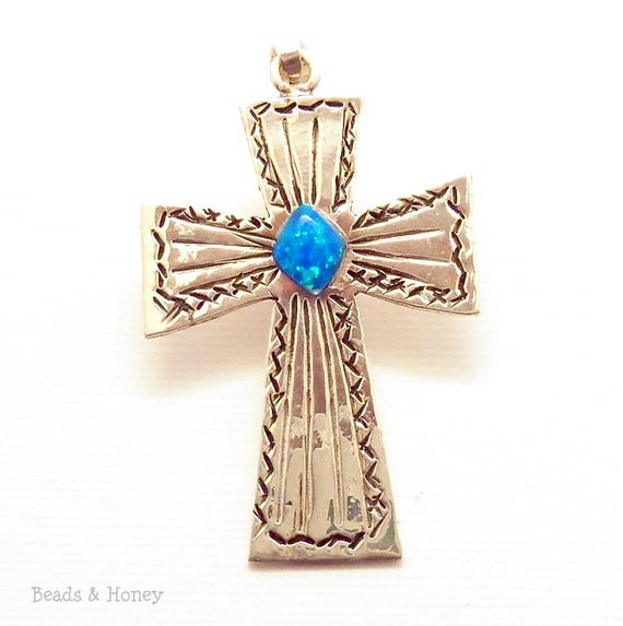 Handmade Sterling Silver Cross with Inlaid Opal - One of a Kind - 50x30mm (1pc)