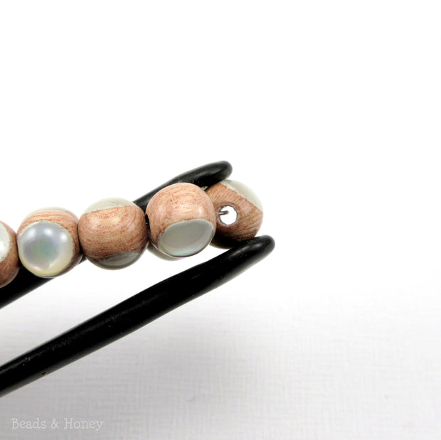 Rosewood Bead with White Mother of Pearl Inlay Round 8mm (Half Strand)