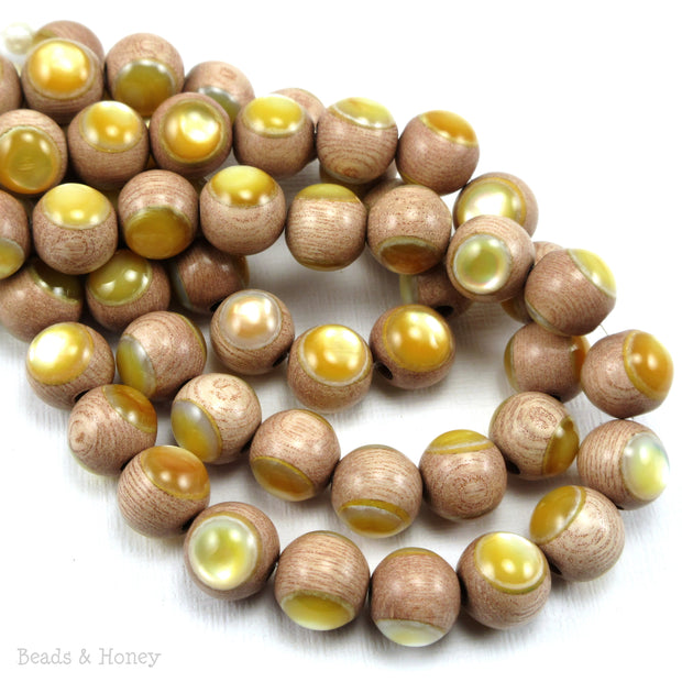 Rosewood Bead with Gold Mother of Pearl Inlay Round 10mm