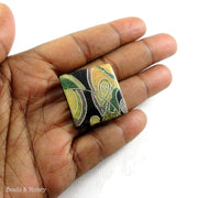 Vintage Recycled Sawdust Cabochon Square Green/Yellow/Black Abstract Design 25mm (1pc)