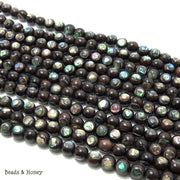Ebony Wood Beads Inlaid with Abalone Shell Round 7mm - 8mm (8-Inch Strand)