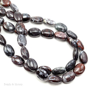 Chinese Bloodstone Beads Oval Puffed 14x10mm (15.5-Inch Strand)