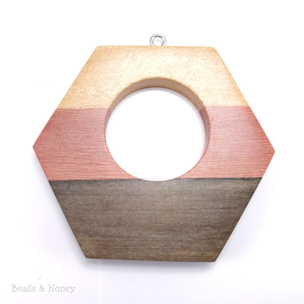 Mosaic Mixed Wood Open Hexagon Pendant with Stainless Steel Bail 53x47x7mm (1pc)