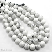 White Howlite 8mm Round Large Hole Bead