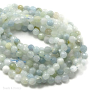 Aquamarine Bead Round Faceted 6mm (15.5 Inch Strand)
