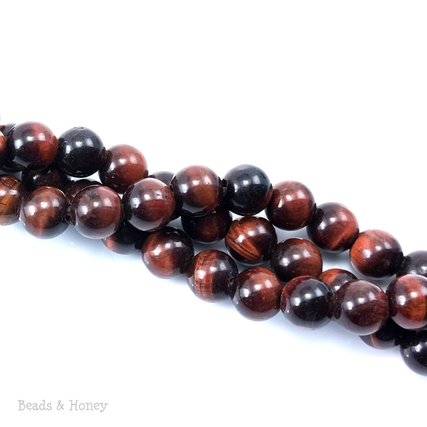 Dakota Stones Red Tiger Eye 8mm Large Hole Round Bead (8-Inch Strand)