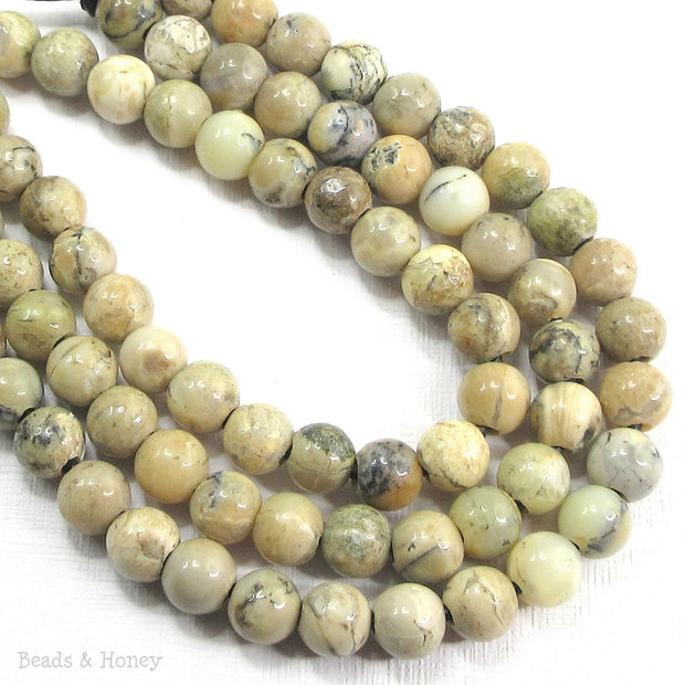 Dakota Stones White African Opal Large Hole Bead Round 8mm (8-Inch Strand)