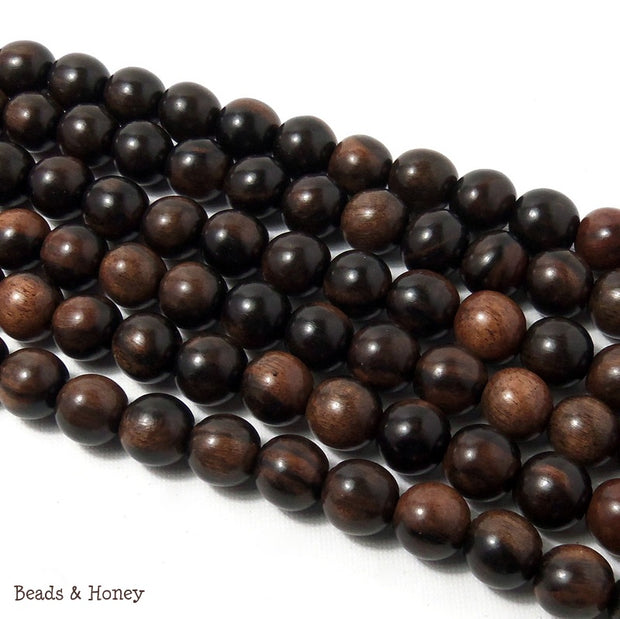 Tiger Ebony Beads Wood Round Dark 12mm (16-Inch Strand)