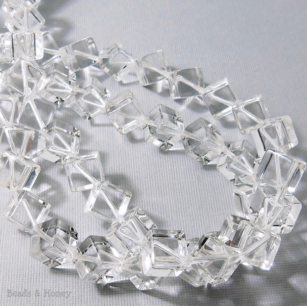 Rock Crystal Quartz Cube Diagonal Drill 10mm (8-Inch Strand)